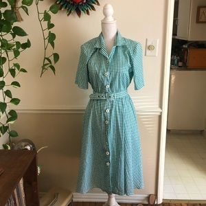 50s Vintage Gingham Dress with Flower Buttons
